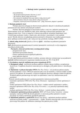 41 Rodzaje testów i pomiarów aktywnych 1. Rodzaje pomiarów sieci