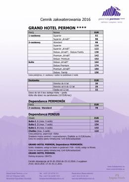 Cennik zakwaterowania 2016 GRAND HOTEL PERMON ****
