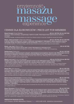 specjalna cena na usługi masażu