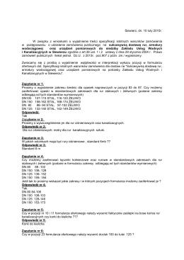 Odpowiedzi na zapytania - 10-02-2015 r.