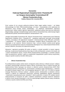 Stanowisko Federacji Regionalnych Związków Gmin i Powiatów RP