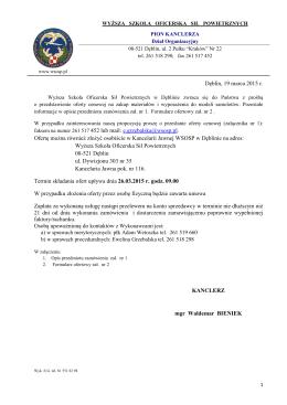 Dęblin, 19 marca 2015 r. Ofertę można również złożyć osobiście w