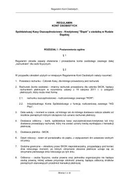 REGULAMIN KONT OSOBISTYCH Spółdzielczej Kasy