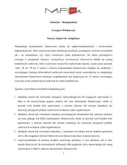Attention - Manipulation! Grzegorz Włodarczyk Starszy ekspert ds