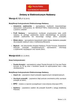 Zmiany w Elektronicznym Nadawcy Wersja 6.1.0 (07.02.2015)