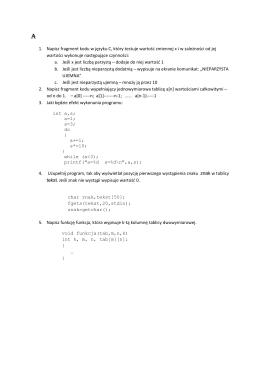 1. Napisz fragment kodu w języku C, który testuje wartość zmiennej