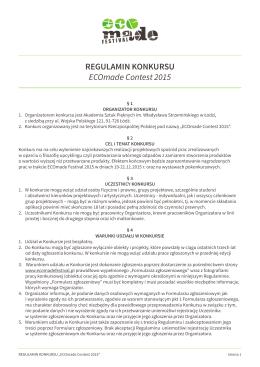 REGULAMIN KONKURSU ECOmade Contest