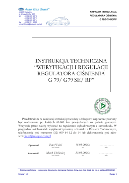 weryfikacji i regulacji regulatora ciśnienia g 79/ g79