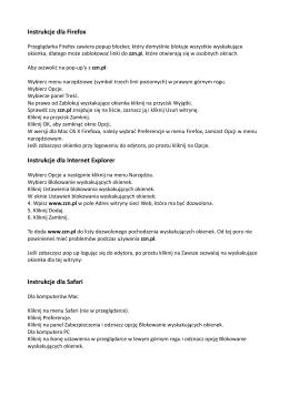 Instrukcje dla Firefox Instrukcje dla Internet Explorer Instrukcje dla