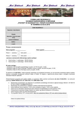 formularz rezerwacji viii międzynarodowego sympozium