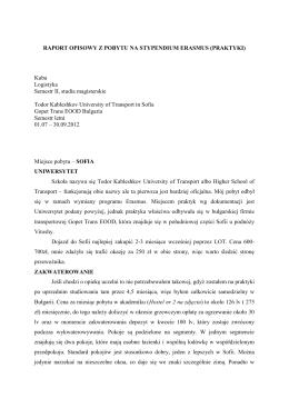 Sprawozdanie z praktyk, Gopet Trans Sofia, University of
