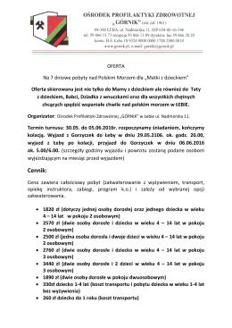 Oferta dla Rodziców - Łeba 2016.05.30
