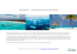 Malediwy cennik 2015/2016 - Biuro Podróży New Poland