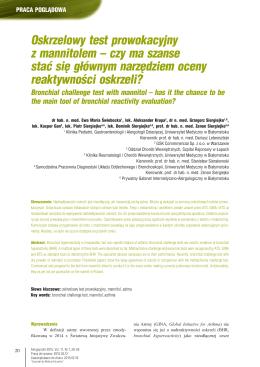 Oskrzelowy test prowokacyjny z mannitolem – czy ma szanse stać