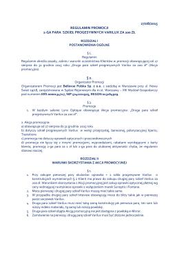 27/08/2015 regulamin promocji 2-ga para szkieł