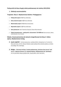 Podręczniki do klasy drugiej szkoły podstawowej rok szkolny 2015