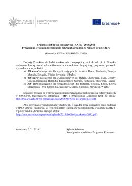 Erasmus Mobilność edukacyjna (KA103) 2015/2016