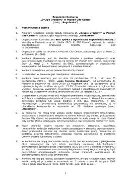 """1 Regulamin Konkursu """"Drugie Urodziny"""" w Poznań City Center"""