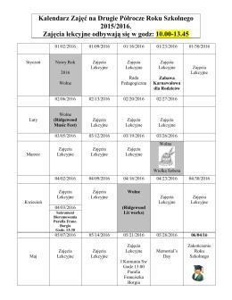 Kalendarz Zajęć na Drugie Półrocze Roku Szkolnego 2015/2016