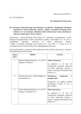 Gdynia, dnia 24.08.2015 r. ZU-227/509/JR/2015 Do wiadomości