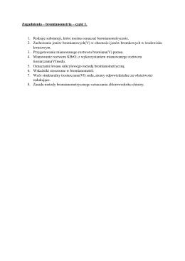 Zagadnienia – bromianometria – część 1. 1. Rodzaje substancji