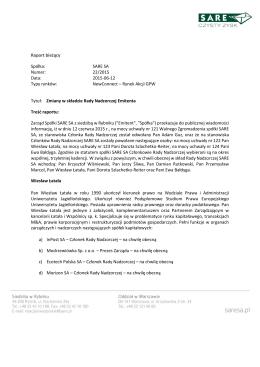 Raport bieżący Spółka: SARE SA Numer: 22/2015 Data: 2015-06