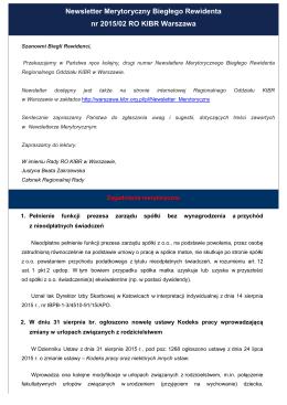 Newsletter Merytoryczny Biegłego Rewidenta nr 2015/02 RO KIBR