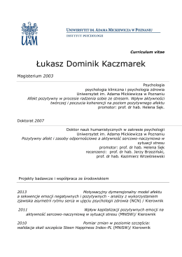 Łukasz Dominik Kaczmarek - Instytut Psychologii