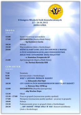 II Kongres Młodych Osób Konsekrowanych 23 – 26 IX 2015 JASNA