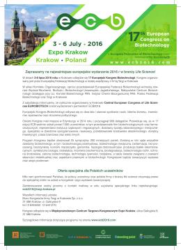 ecb 2016 - Klaster LifeScience Kraków