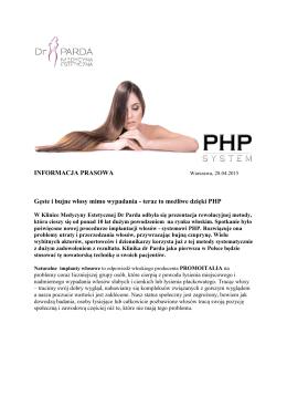 Informacja prasowa_SYSTEM PHP w Klinice dr Parda_28042015