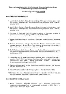 Zalecana lista podręczników do Państwowego Egzaminu