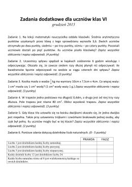 Zadania dodatkowe dla uczniów klas VI