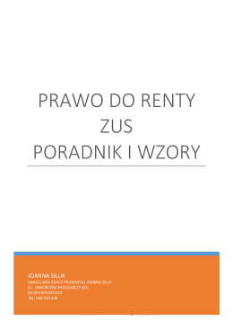 Poradnik ZUS Renty - Kancelaria Radcy Prawnego Joanna Siluk