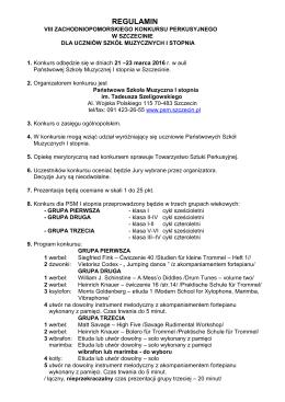 REGULAMIN - PSM I st. w Szczecinie