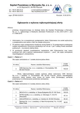 Wynik postępowania - Szpital Powiatowy w Wyrzysku