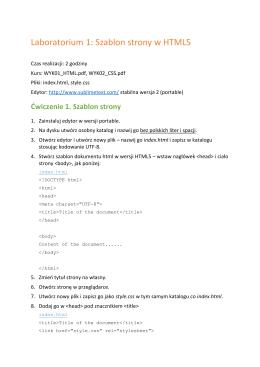 Laboratorium 1: Szablon strony w HTML5