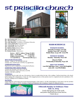 MASS SCHEDULE - St Priscilla Catholic Church
