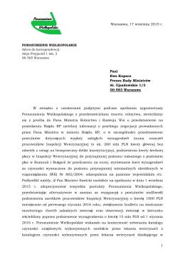 Pismo Porozumienia Wielkopolskiego do Prezes Rady Ministrów