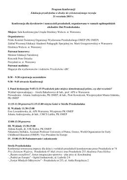 Program Konferencji Edukacja przedszkolna w drodze do