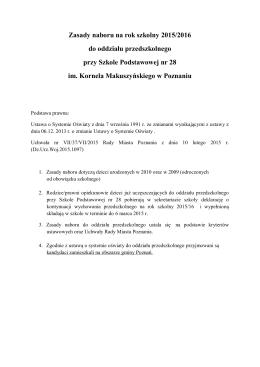 Rekrutacja i nabór do oddziału przedszkolnego w SP 28