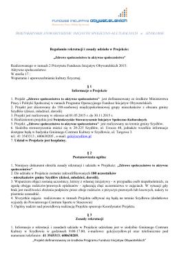 Regulamin rekrutacji i zasady udziału w Projekcie: Realizowanego