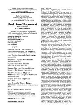 Koncert pamięci Prof. Józefa Patkowskiego