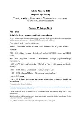 Programu wykładowego - Interdyscyplinarna Szkoła Zimowa