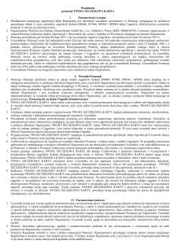 Regulamin promocji TWOJA SZCZĘŚLIWA KARTA I
