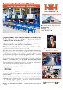Informacje dotyczące zakładu w Dzierżoniowie Hartownia HAUCK