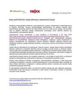 Warszawa, 24 czerwca 2015 Nowe wyniki NetTrack i więcej