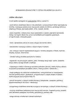 wymagania edukacyjne zj ezyka polskiego dla klasy 6 ocena celująca