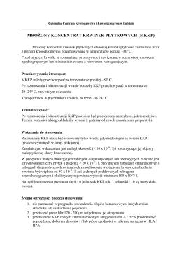MROŻONY KONCENTRAT KRWINEK PŁYTKOWYCH (MKKP)