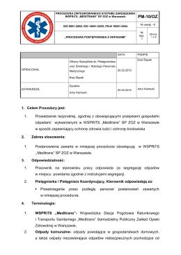 PM-10 Procedura Postępowania z Odpadami